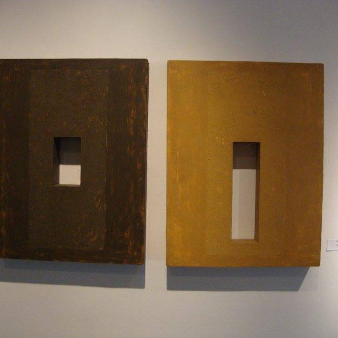 DIPTICO V -mixta sobre madera- 48 x 80 cm - 1993