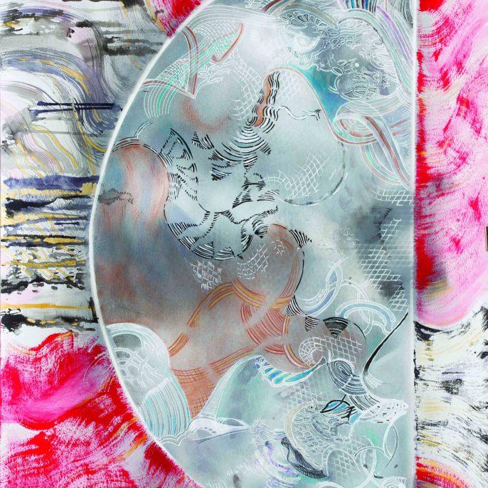 Paula Noe Murphy - La Parte Amante. 110x75cm. Pintura acrilica, tintas acrilicas , tinta china y carbonilla sobre papel, Paris 2015, Paula Noé Murphy