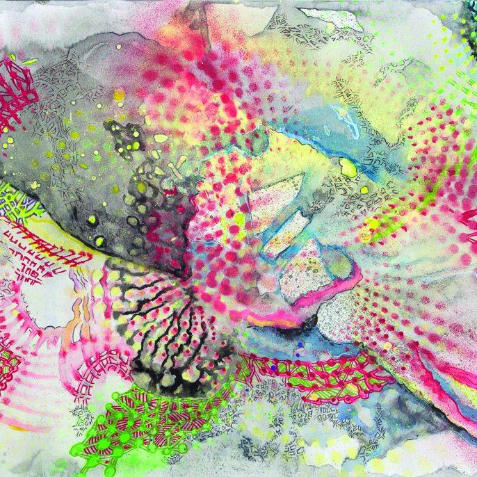 Paula Noe Murphy - Metamorfosis de la Realidad Profunda de las Cosas. 29,05 cm x 42 cm. Pintura y tintas acricas sobre papel. Paris 2015. Paula Noé Murphy